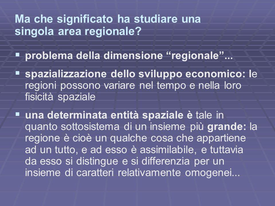 """Ma che significato ha studiare una singola area regionale?   problema della dimensione """"regionale""""...   spazializzazione dello sviluppo economico:"""