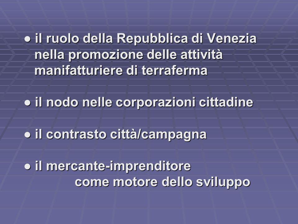 ● il ruolo della Repubblica di Venezia ● il ruolo della Repubblica di Venezia nella promozione delle attività nella promozione delle attività manifatt