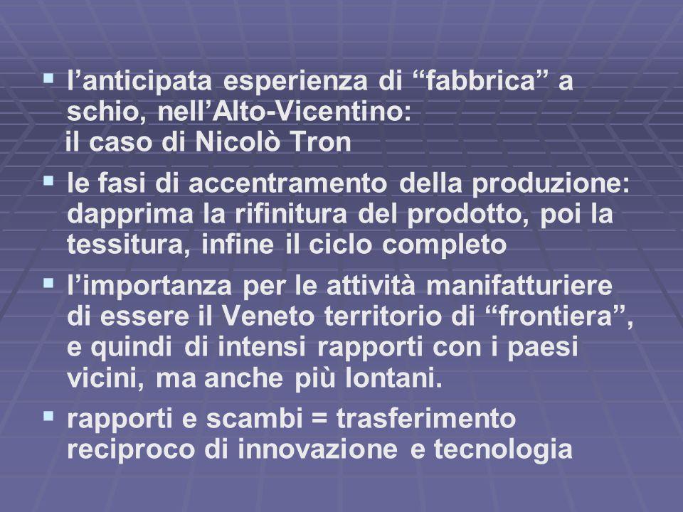 """  l'anticipata esperienza di """"fabbrica"""" a schio, nell'Alto-Vicentino: il caso di Nicolò Tron   le fasi di accentramento della produzione: dapprima"""