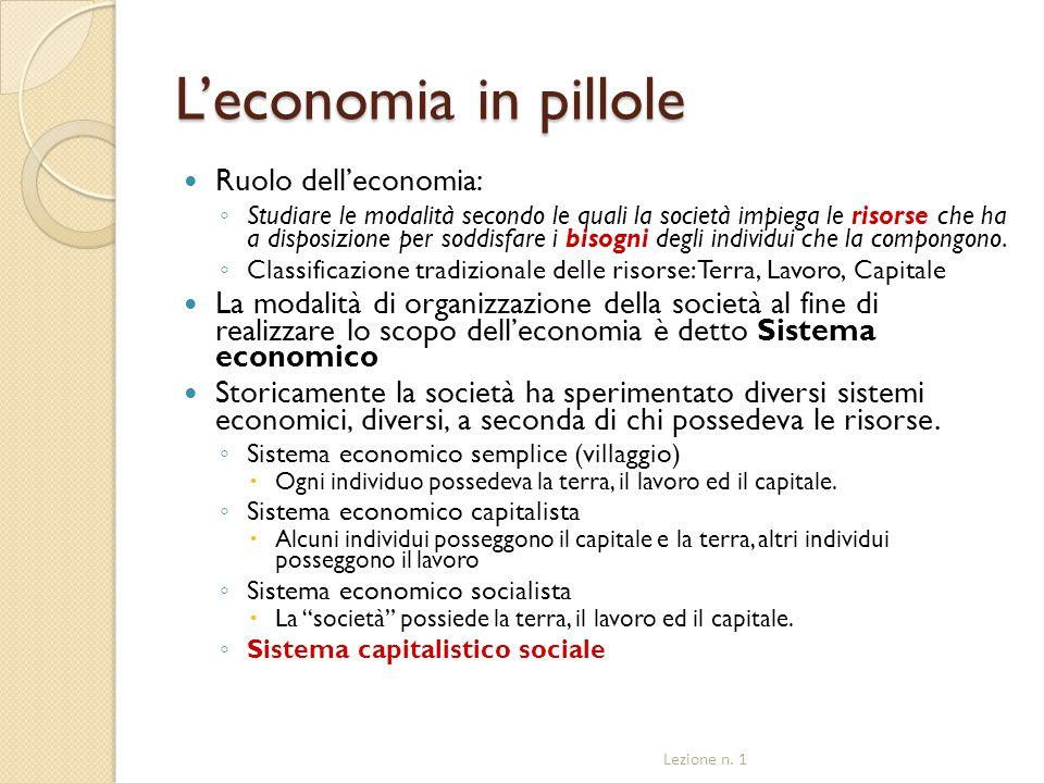 L'economia in pillole Ruolo dell'economia: ◦ Studiare le modalità secondo le quali la società impiega le risorse che ha a disposizione per soddisfare