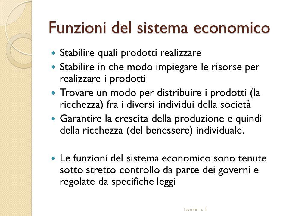 Funzioni del sistema economico Stabilire quali prodotti realizzare Stabilire in che modo impiegare le risorse per realizzare i prodotti Trovare un mod