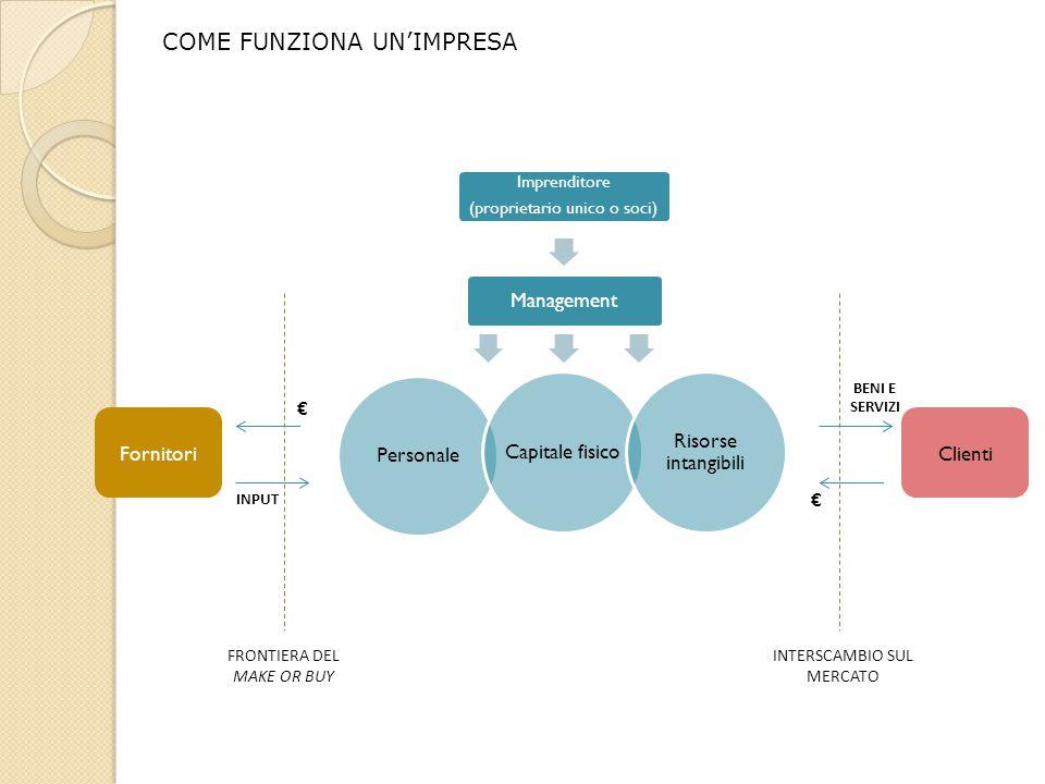 COME FUNZIONA UN'IMPRESA Personale Capitale fisico Risorse intangibili Imprenditore (proprietario unico o soci) Management FRONTIERA DEL MAKE OR BUY F