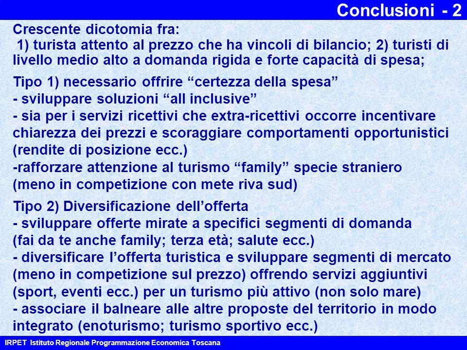 """Conclusioni - 2 IRPET Istituto Regionale Programmazione Economica Toscana Tipo 1) necessario offrire """"certezza della spesa"""" - sviluppare soluzioni """"al"""