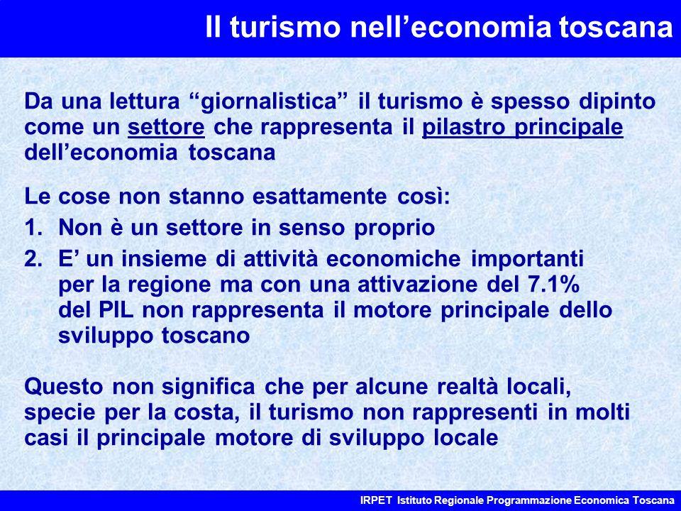 """Il turismo nell'economia toscana IRPET Istituto Regionale Programmazione Economica Toscana Da una lettura """"giornalistica"""" il turismo è spesso dipinto"""