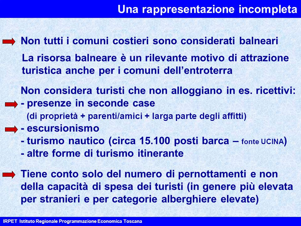 IRPET Istituto Regionale Programmazione Economica Toscana Non tutti i comuni costieri sono considerati balneari La risorsa balneare è un rilevante motivo di attrazione turistica anche per i comuni dell'entroterra Non considera turisti che non alloggiano in es.