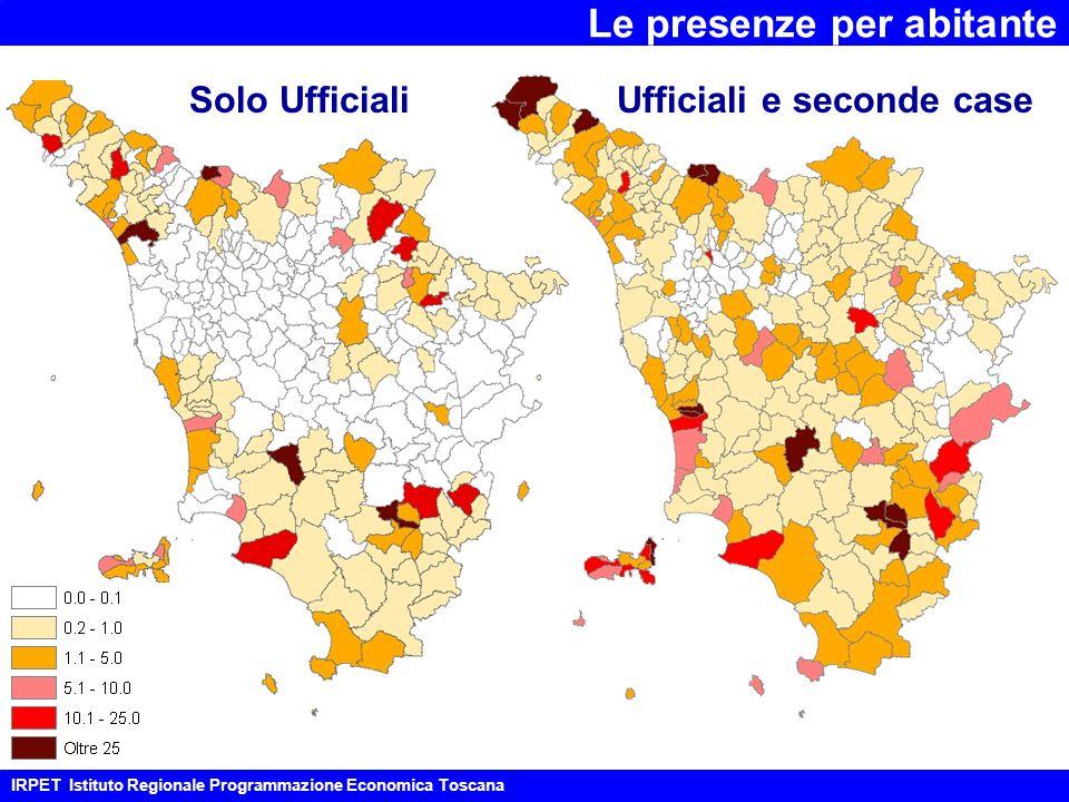Le presenze per abitante IRPET Istituto Regionale Programmazione Economica Toscana Solo UfficialiUfficiali e seconde case