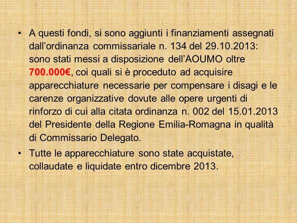A questi fondi, si sono aggiunti i finanziamenti assegnati dall'ordinanza commissariale n.