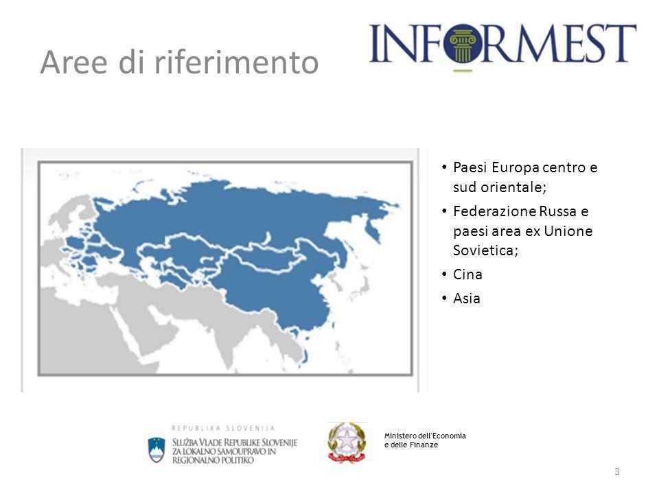3 Aree di riferimento Paesi Europa centro e sud orientale; Federazione Russa e paesi area ex Unione Sovietica; Cina Asia Ministero dell Economia e delle Finanze