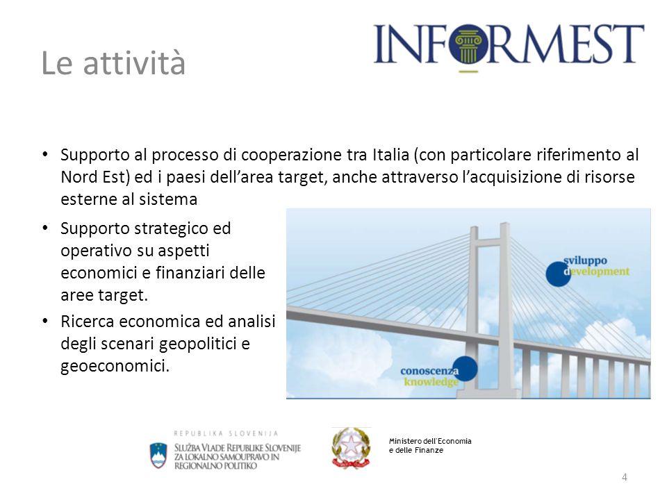 4 Le attività Supporto al processo di cooperazione tra Italia (con particolare riferimento al Nord Est) ed i paesi dell'area target, anche attraverso l'acquisizione di risorse esterne al sistema Ministero dell Economia e delle Finanze Supporto strategico ed operativo su aspetti economici e finanziari delle aree target.