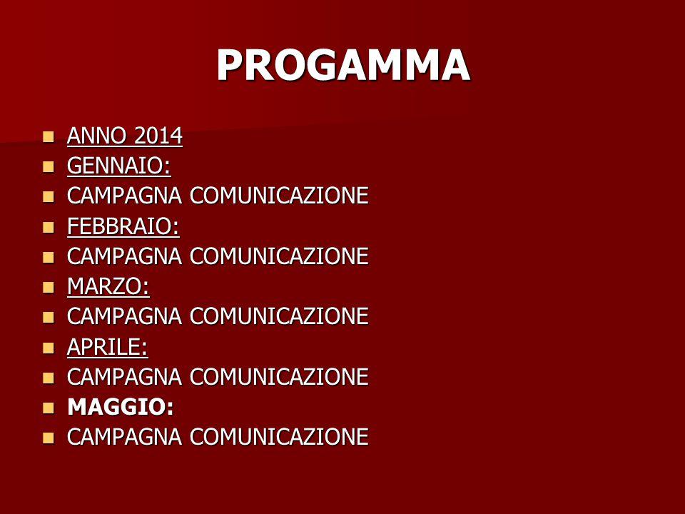 PROGAMMA ANNO 2014 ANNO 2014 GENNAIO: GENNAIO: CAMPAGNA COMUNICAZIONE CAMPAGNA COMUNICAZIONE FEBBRAIO: FEBBRAIO: CAMPAGNA COMUNICAZIONE CAMPAGNA COMUNICAZIONE MARZO: MARZO: CAMPAGNA COMUNICAZIONE CAMPAGNA COMUNICAZIONE APRILE: APRILE: CAMPAGNA COMUNICAZIONE CAMPAGNA COMUNICAZIONE MAGGIO: MAGGIO: CAMPAGNA COMUNICAZIONE CAMPAGNA COMUNICAZIONE
