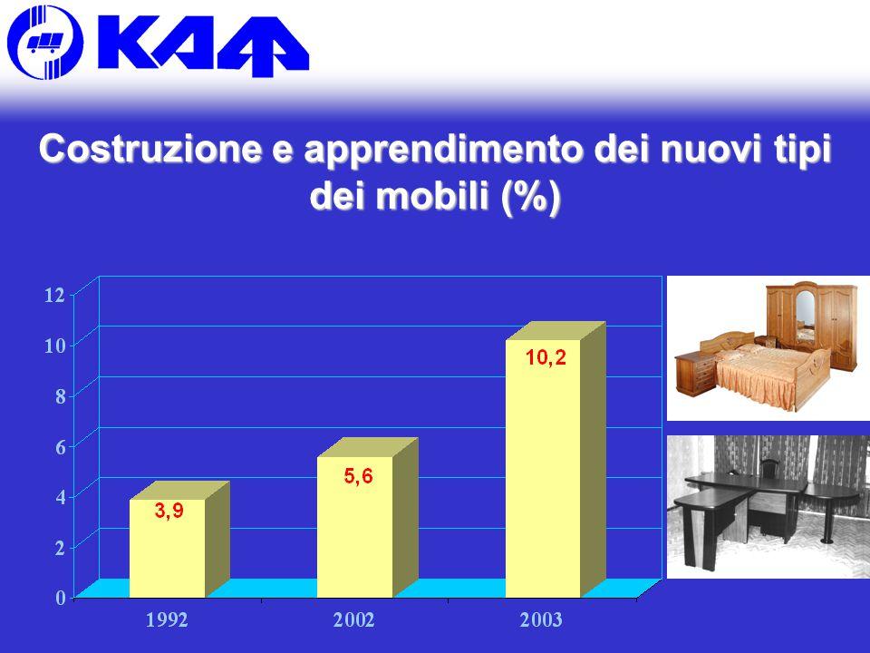 Costruzione e apprendimento dei nuovi tipi dei mobili (%)