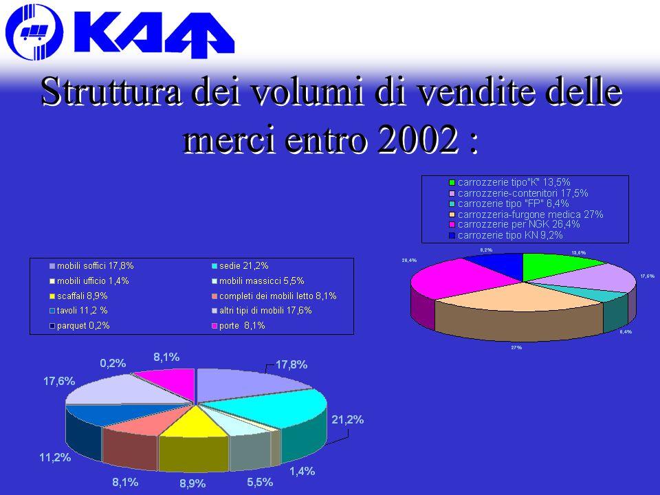Struttura dei volumi di vendite delle merci entro 2002 :