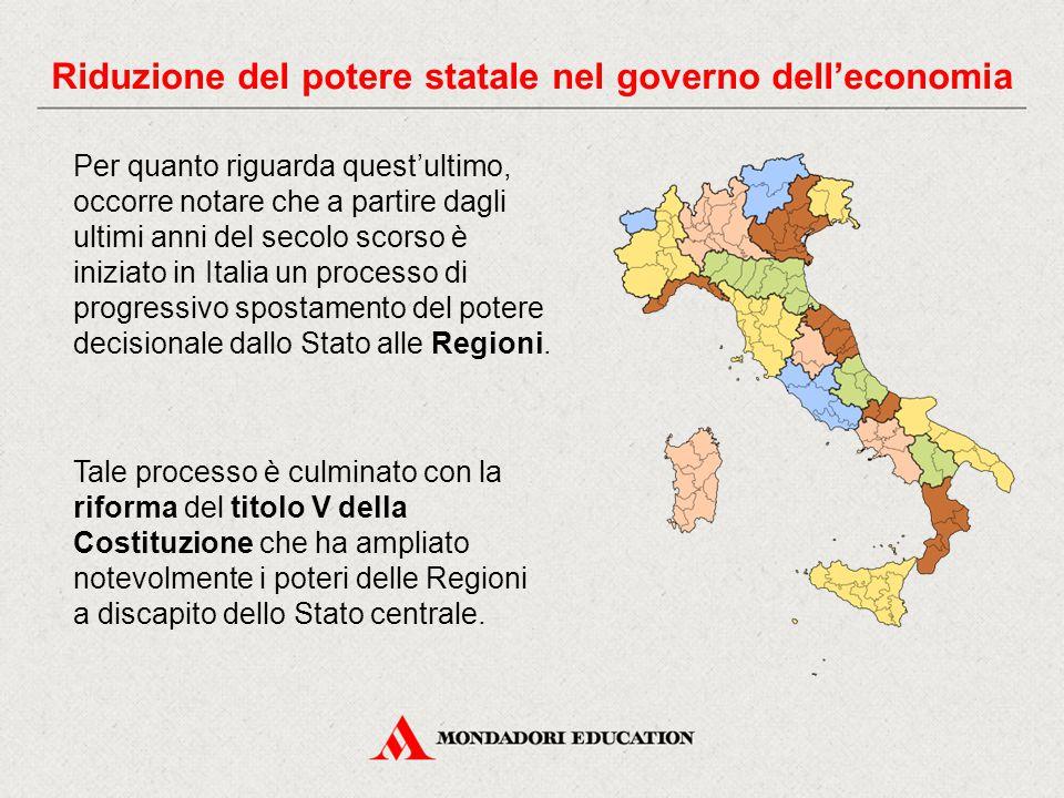 Per quanto riguarda quest'ultimo, occorre notare che a partire dagli ultimi anni del secolo scorso è iniziato in Italia un processo di progressivo spostamento del potere decisionale dallo Stato alle Regioni.