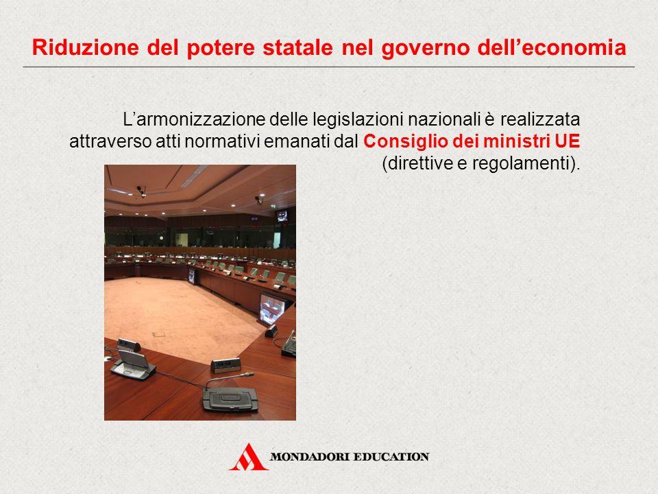 L'armonizzazione delle legislazioni nazionali è realizzata attraverso atti normativi emanati dal Consiglio dei ministri UE (direttive e regolamenti).