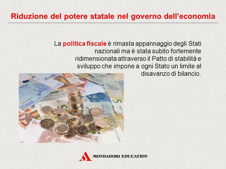 La politica fiscale è rimasta appannaggio degli Stati nazionali ma è stata subito fortemente ridimensionata attraverso il Patto di stabilità e sviluppo che impone a ogni Stato un limite al disavanzo di bilancio.