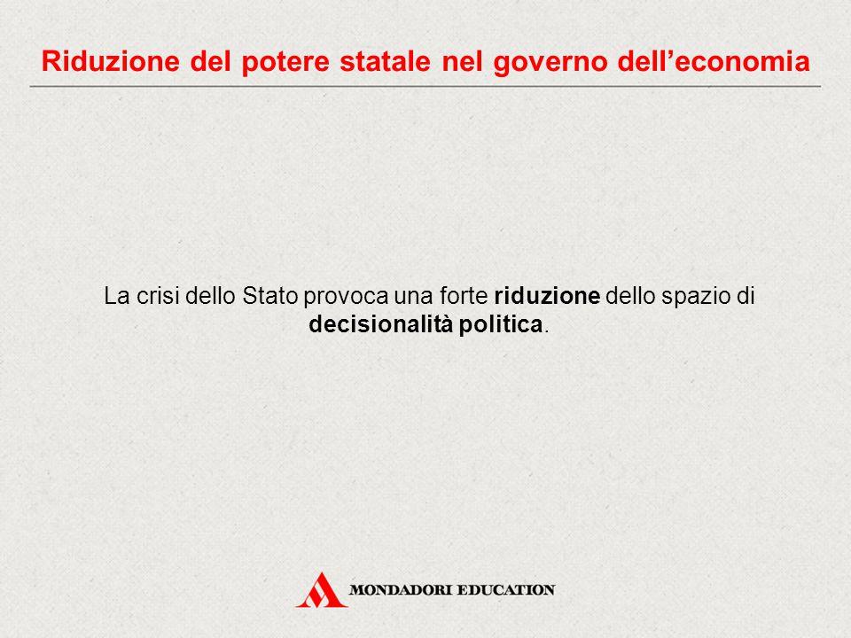 La crisi dello Stato provoca una forte riduzione dello spazio di decisionalità politica.