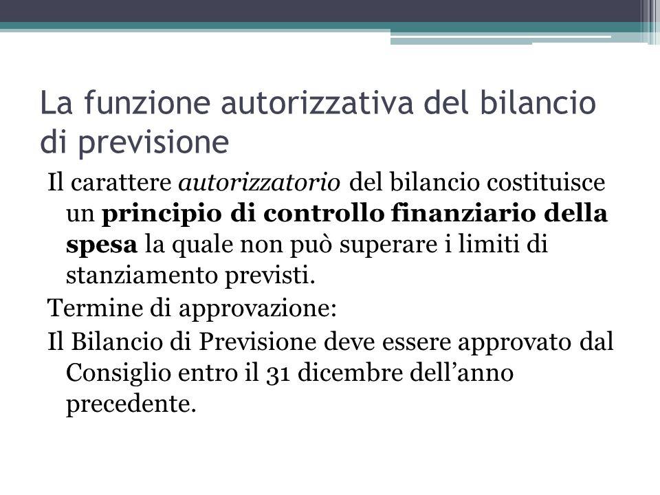 La funzione autorizzativa del bilancio di previsione Il carattere autorizzatorio del bilancio costituisce un principio di controllo finanziario della