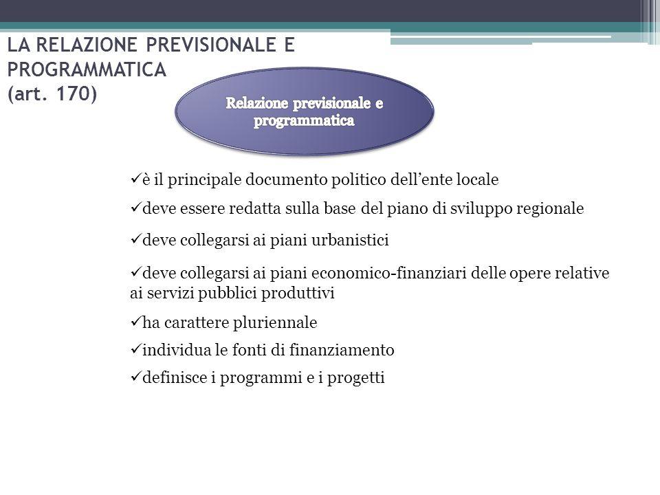 LA RELAZIONE PREVISIONALE E PROGRAMMATICA (art. 170) è il principale documento politico dell'ente locale deve essere redatta sulla base del piano di s