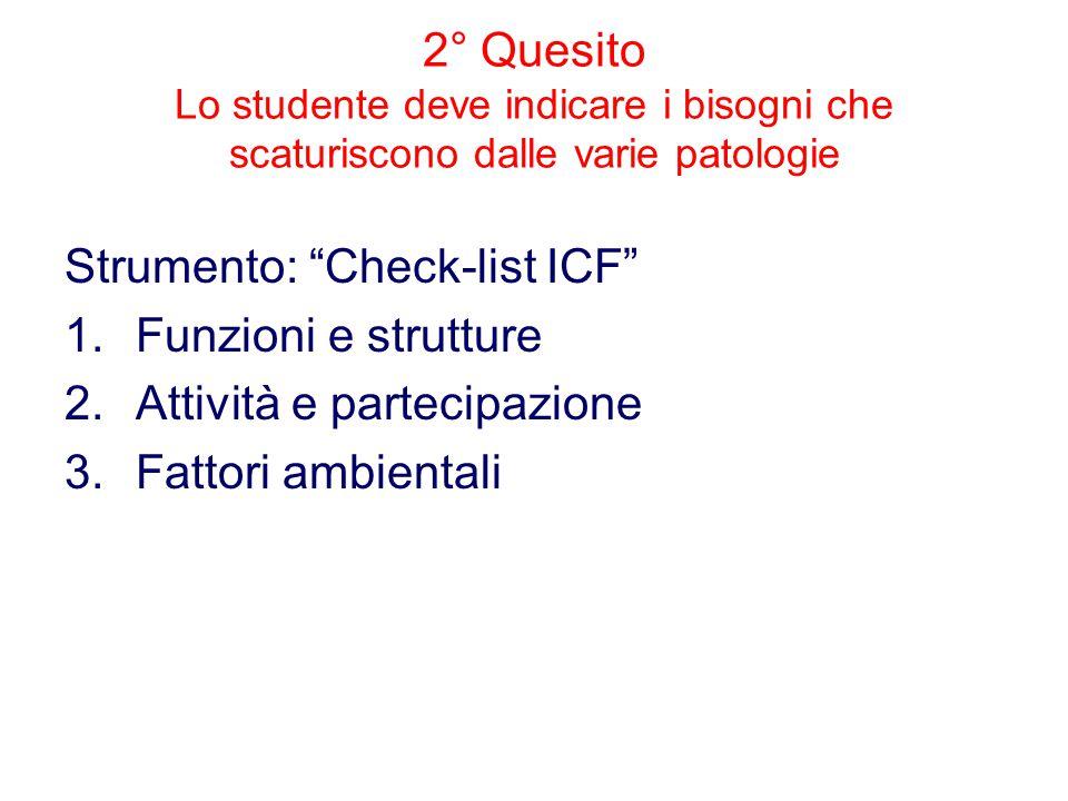 2° Quesito Lo studente deve indicare i bisogni che scaturiscono dalle varie patologie Strumento: Check-list ICF 1.Funzioni e strutture 2.Attività e partecipazione 3.Fattori ambientali