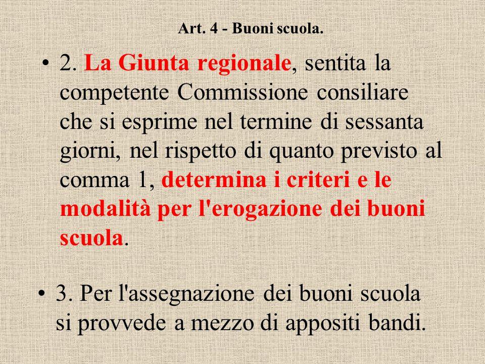 Art. 4 - Buoni scuola. 1. I buoni scuola di cui all'articolo 2, devono essere rapportati alle condizioni reddituali e al numero dei componenti del nuc