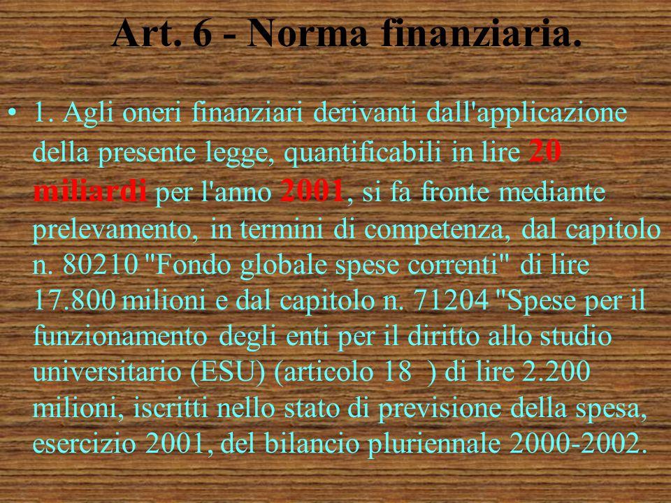 Art. 5 - Norma finale. 1. Gli interventi di cui alla presente legge sono integrativi e complementari a quelli previsti in materia dalla vigente normat