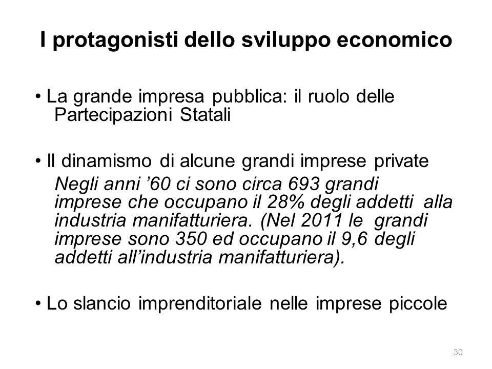 I protagonisti dello sviluppo economico La grande impresa pubblica: il ruolo delle Partecipazioni Statali Il dinamismo di alcune grandi imprese privat