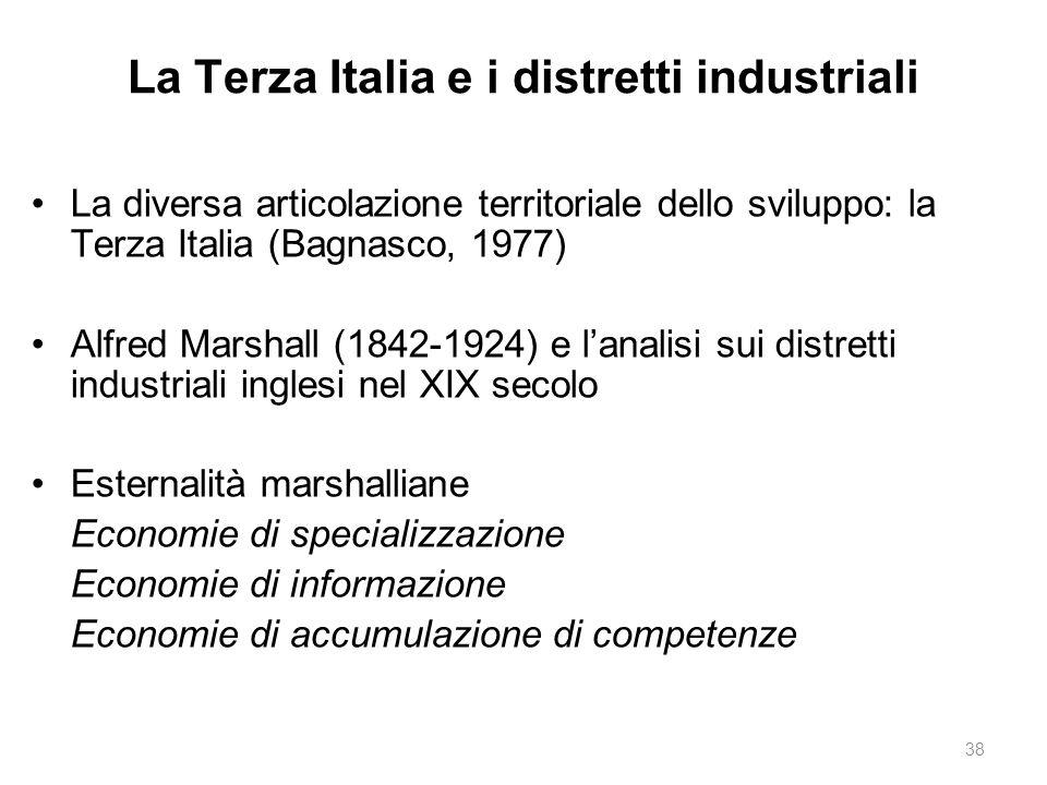 La Terza Italia e i distretti industriali La diversa articolazione territoriale dello sviluppo: la Terza Italia (Bagnasco, 1977) Alfred Marshall (1842-1924) e l'analisi sui distretti industriali inglesi nel XIX secolo Esternalità marshalliane Economie di specializzazione Economie di informazione Economie di accumulazione di competenze 38