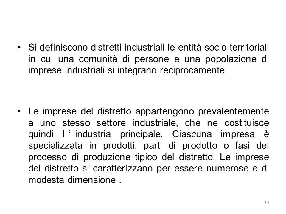 Si definiscono distretti industriali le entità socio-territoriali in cui una comunità di persone e una popolazione di imprese industriali si integrano reciprocamente.