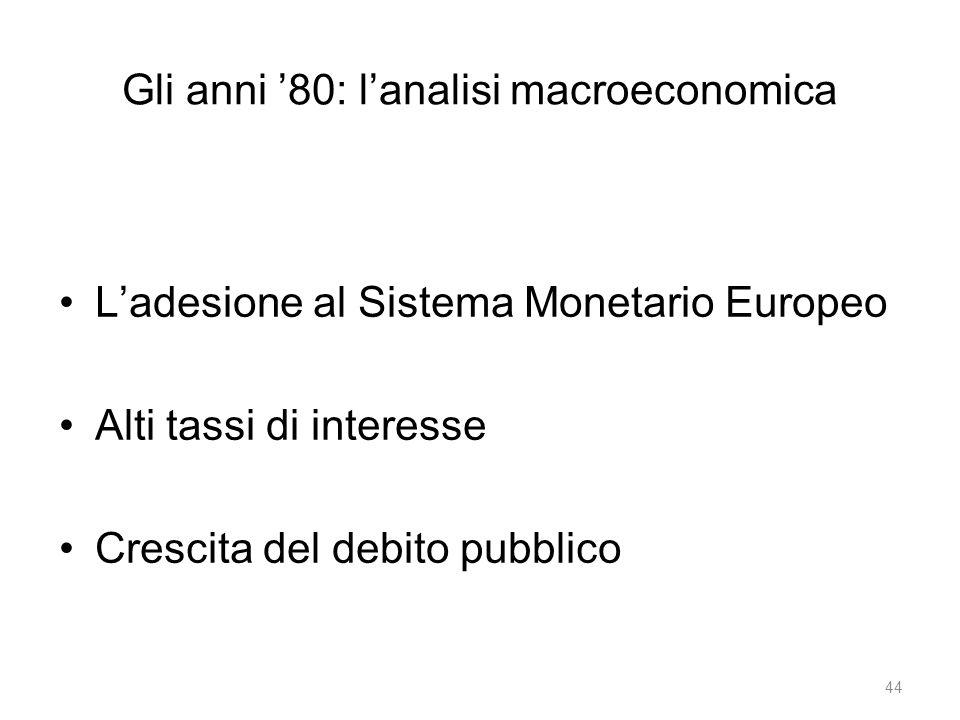 Gli anni '80: l'analisi macroeconomica L'adesione al Sistema Monetario Europeo Alti tassi di interesse Crescita del debito pubblico 44
