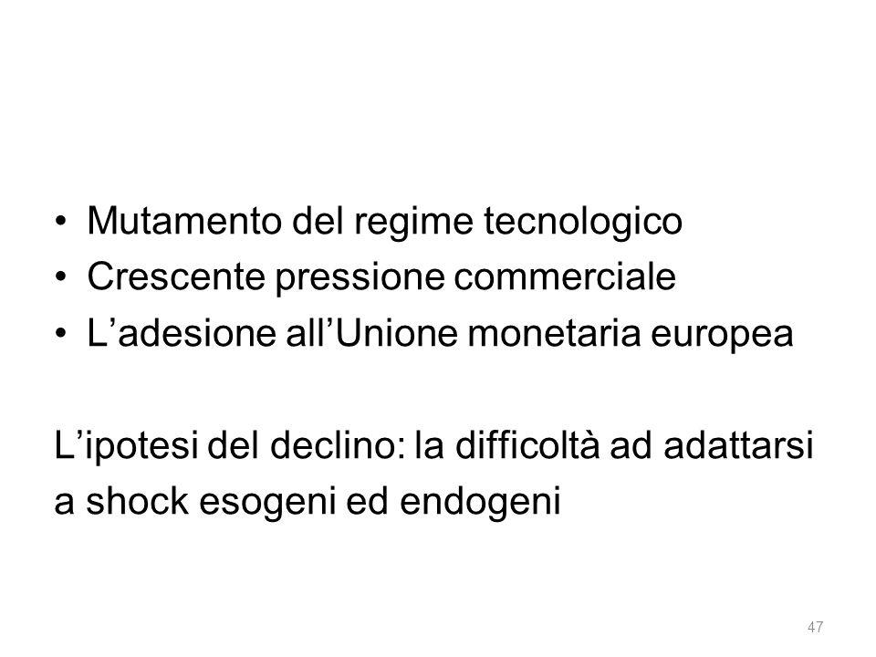 Mutamento del regime tecnologico Crescente pressione commerciale L'adesione all'Unione monetaria europea L'ipotesi del declino: la difficoltà ad adattarsi a shock esogeni ed endogeni 47
