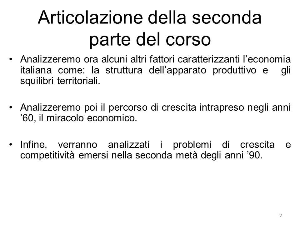 Articolazione della seconda parte del corso Analizzeremo ora alcuni altri fattori caratterizzanti l'economia italiana come: la struttura dell'apparato produttivo e gli squilibri territoriali.