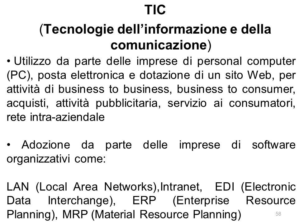 TIC (Tecnologie dell'informazione e della comunicazione) Utilizzo da parte delle imprese di personal computer (PC), posta elettronica e dotazione di u