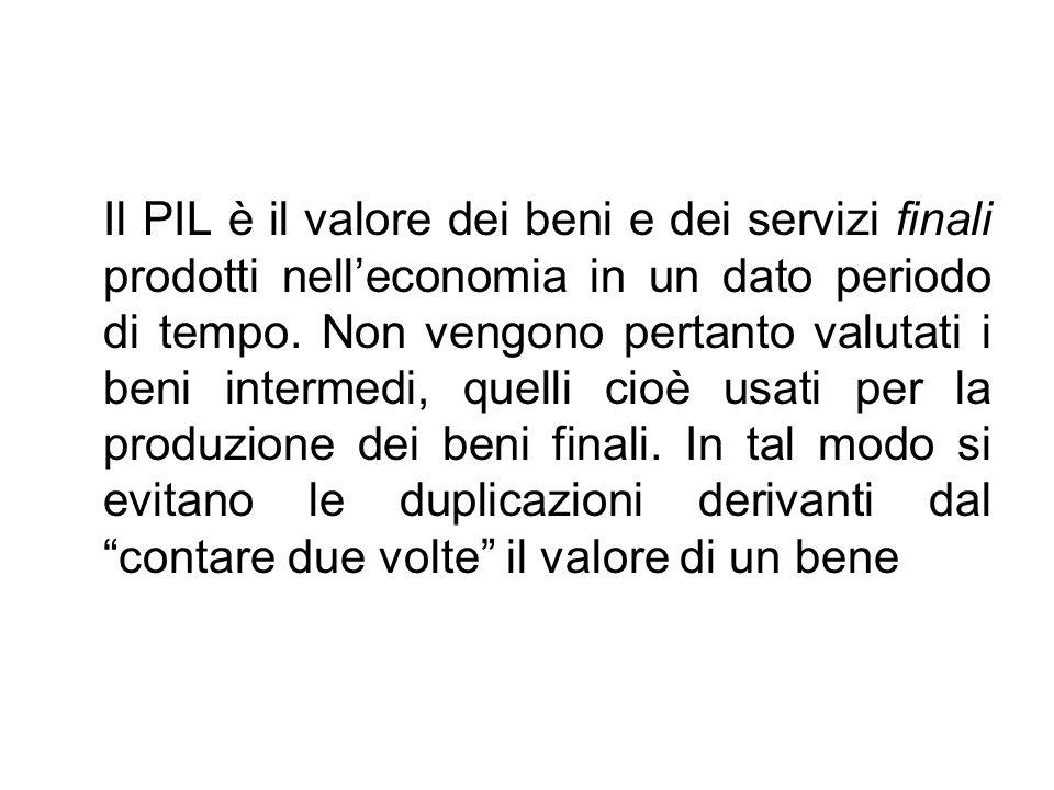 Il PIL è il valore dei beni e dei servizi finali prodotti nell'economia in un dato periodo di tempo. Non vengono pertanto valutati i beni intermedi, q