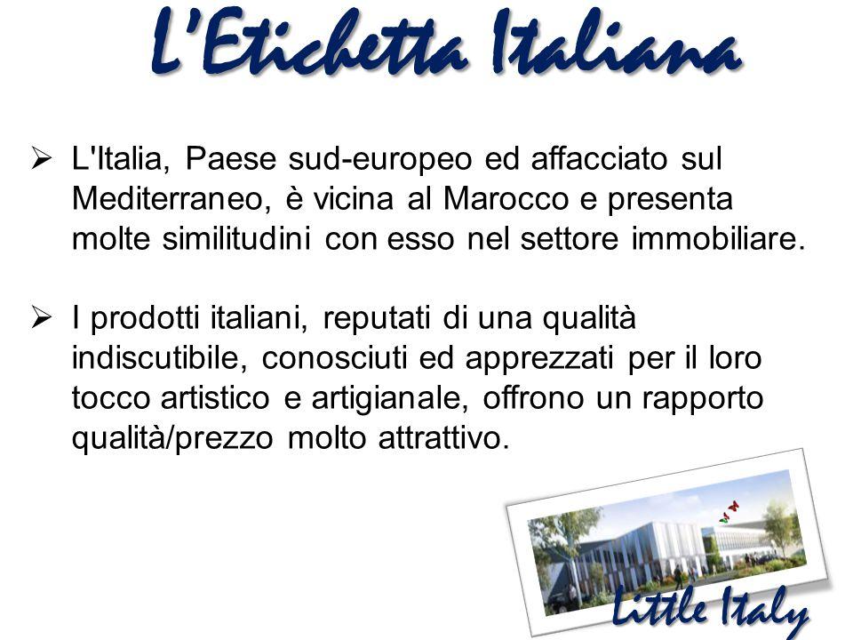 L'Etichetta Italiana  L'Italia, Paese sud-europeo ed affacciato sul Mediterraneo, è vicina al Marocco e presenta molte similitudini con esso nel sett