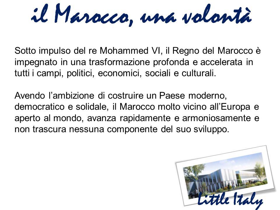 il Marocco una realtà Little Italy  Delle basi economiche forti e stabili  Un ambiente favorevole agli affari  Una crescita economica forte, durevole e creatrice di ricchezza  Un capitale umano qualificato e competitivo