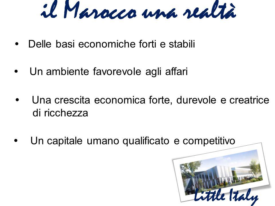 il Marocco una realtà Little Italy  Delle basi economiche forti e stabili  Un ambiente favorevole agli affari  Una crescita economica forte, dur
