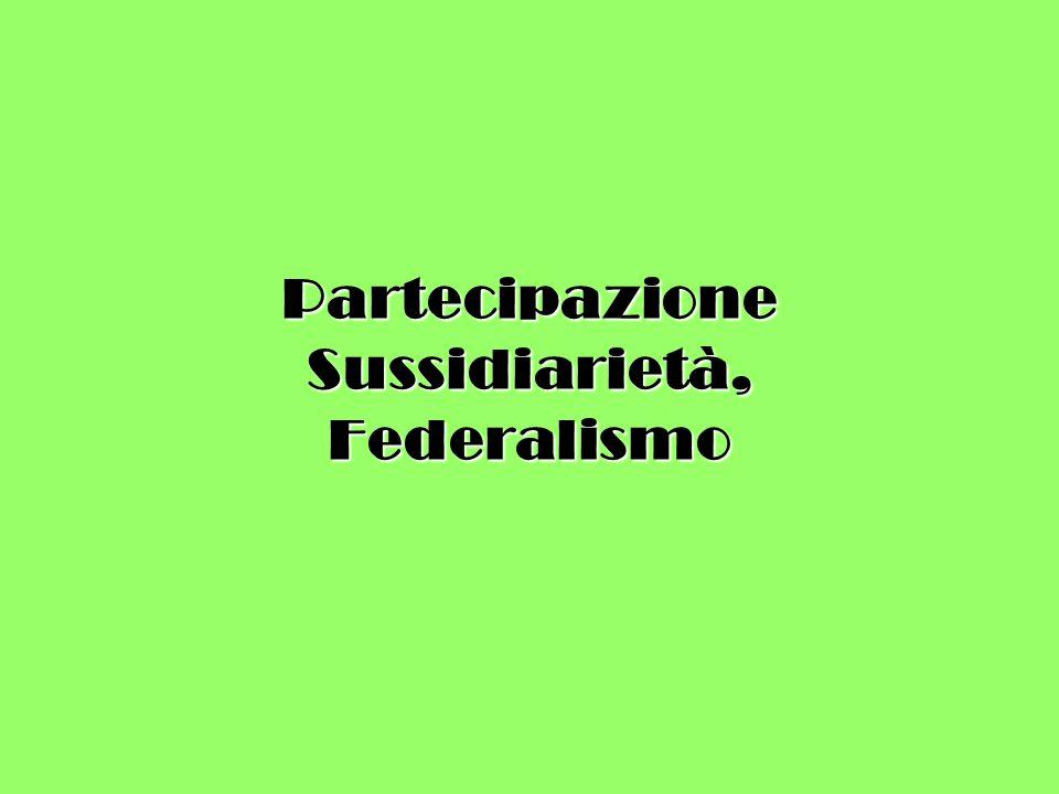 Partecipazione Sussidiarietà, Federalismo