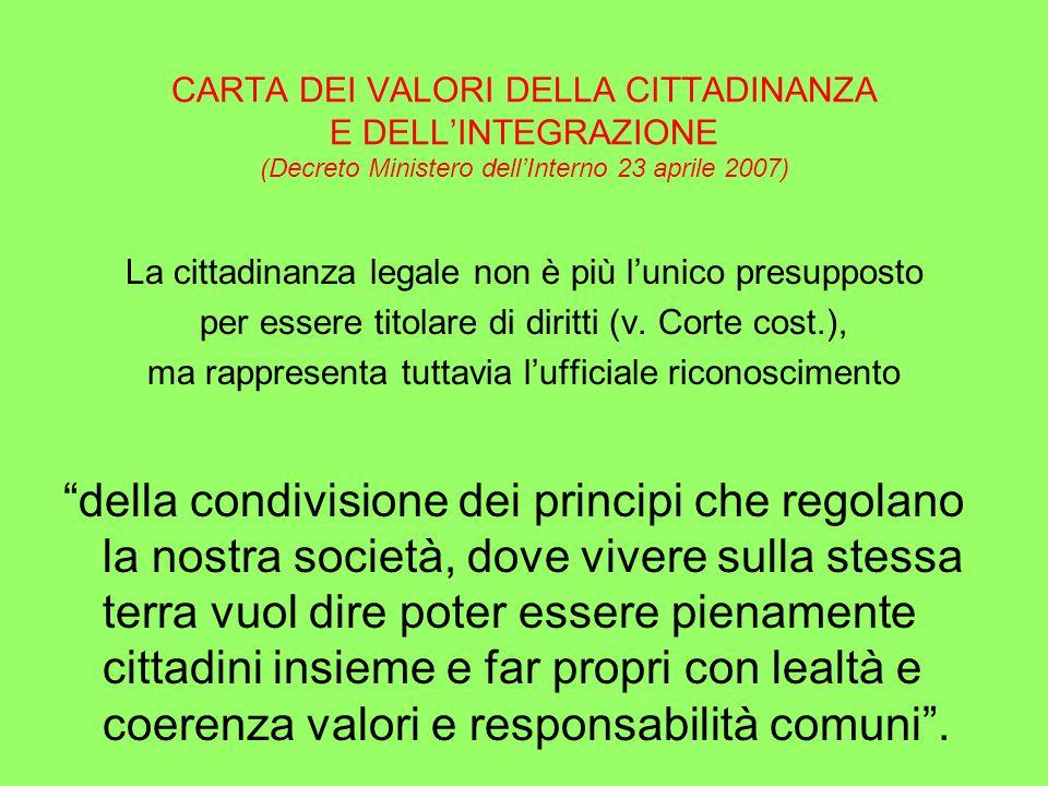 CARTA DEI VALORI DELLA CITTADINANZA E DELL'INTEGRAZIONE (Decreto Ministero dell'Interno 23 aprile 2007) La cittadinanza legale non è più l'unico presupposto per essere titolare di diritti (v.