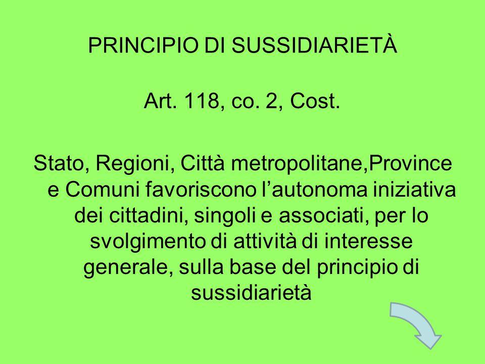 PRINCIPIO DI SUSSIDIARIETÀ Art. 118, co. 2, Cost.