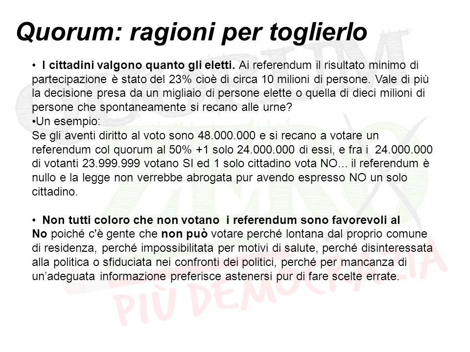 Quorum: ragioni per toglierlo I cittadini valgono quanto gli eletti. Ai referendum il risultato minimo di partecipazione è stato del 23% cioè di circa