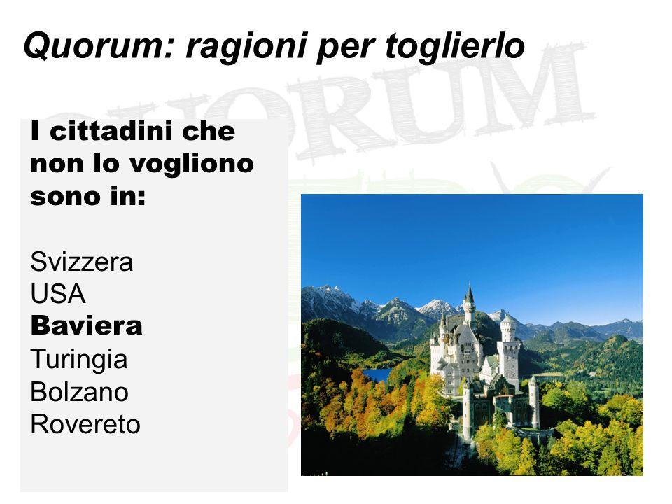Quorum: ragioni per toglierlo I cittadini che non lo vogliono sono in: Svizzera USA Baviera Turingia Bolzano Rovereto