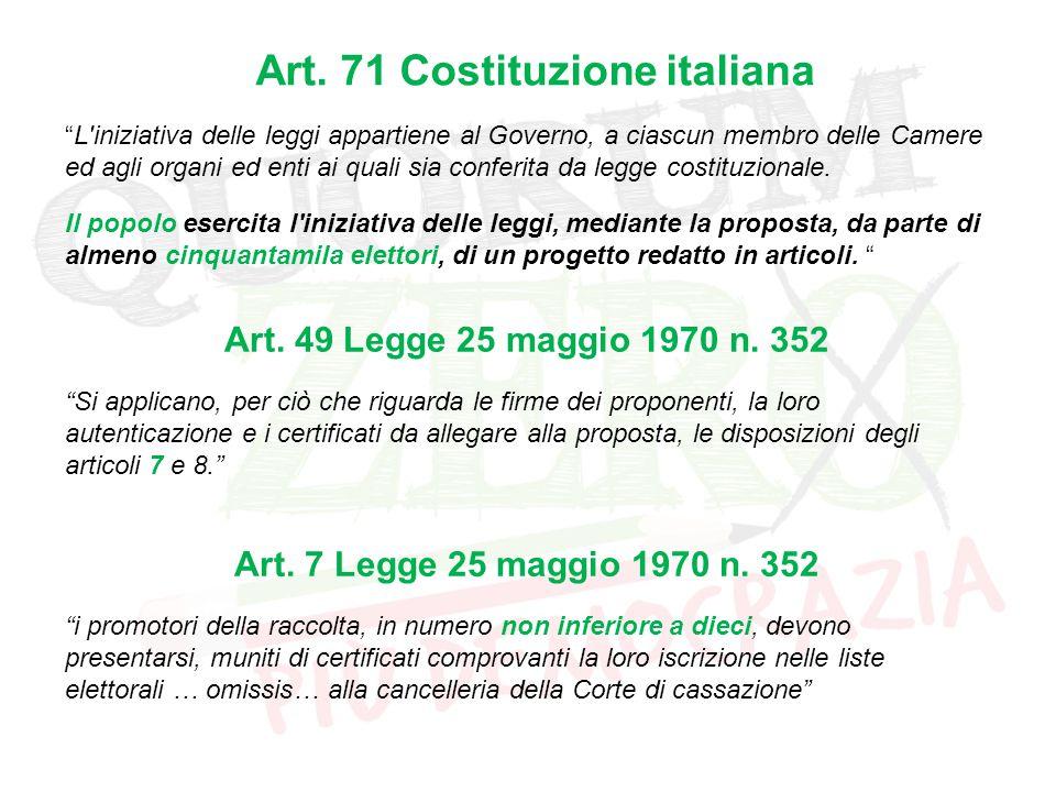 """Art. 71 Costituzione italiana """"L'iniziativa delle leggi appartiene al Governo, a ciascun membro delle Camere ed agli organi ed enti ai quali sia confe"""