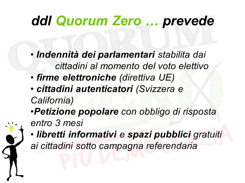 ddl Quorum Zero … prevede Indennità dei parlamentari stabilita dai cittadini al momento del voto elettivo firme elettroniche (direttiva UE) cittadini