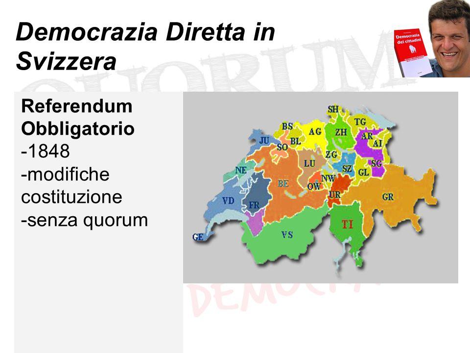 Democrazia Diretta in Svizzera Referendum Obbligatorio -1848 -modifiche costituzione -senza quorum