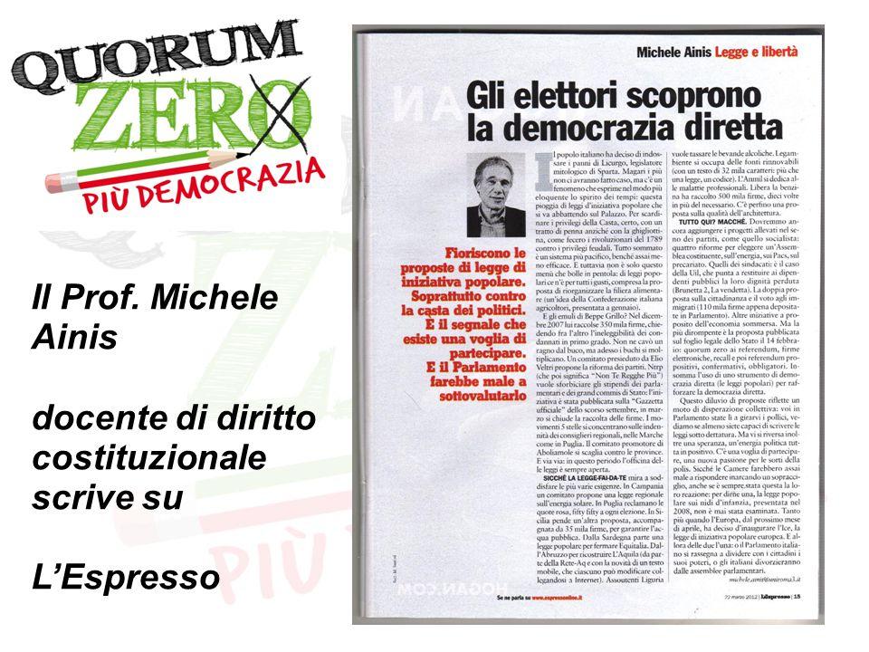 Il Prof. Michele Ainis docente di diritto costituzionale scrive su L'Espresso