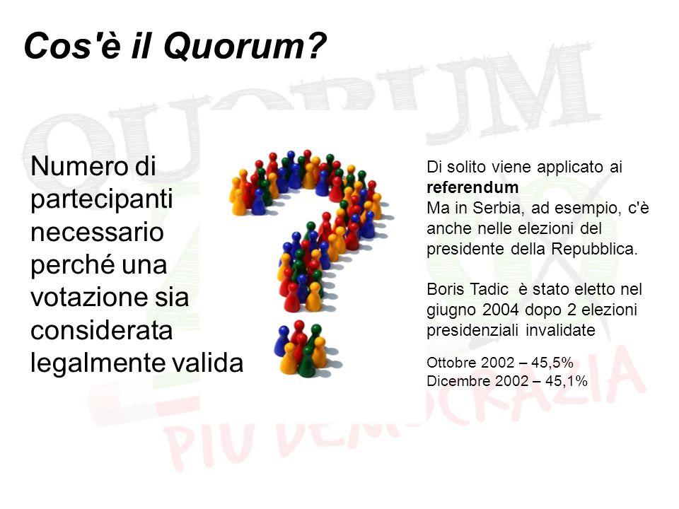 Cos'è il Quorum? Numero di partecipanti necessario perché una votazione sia considerata legalmente valida Di solito viene applicato ai referendum Ma i