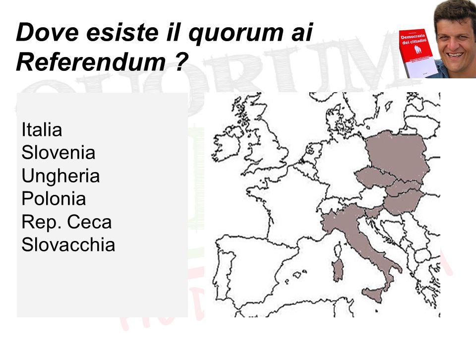Dove esiste il quorum ai Referendum ? Italia Slovenia Ungheria Polonia Rep. Ceca Slovacchia