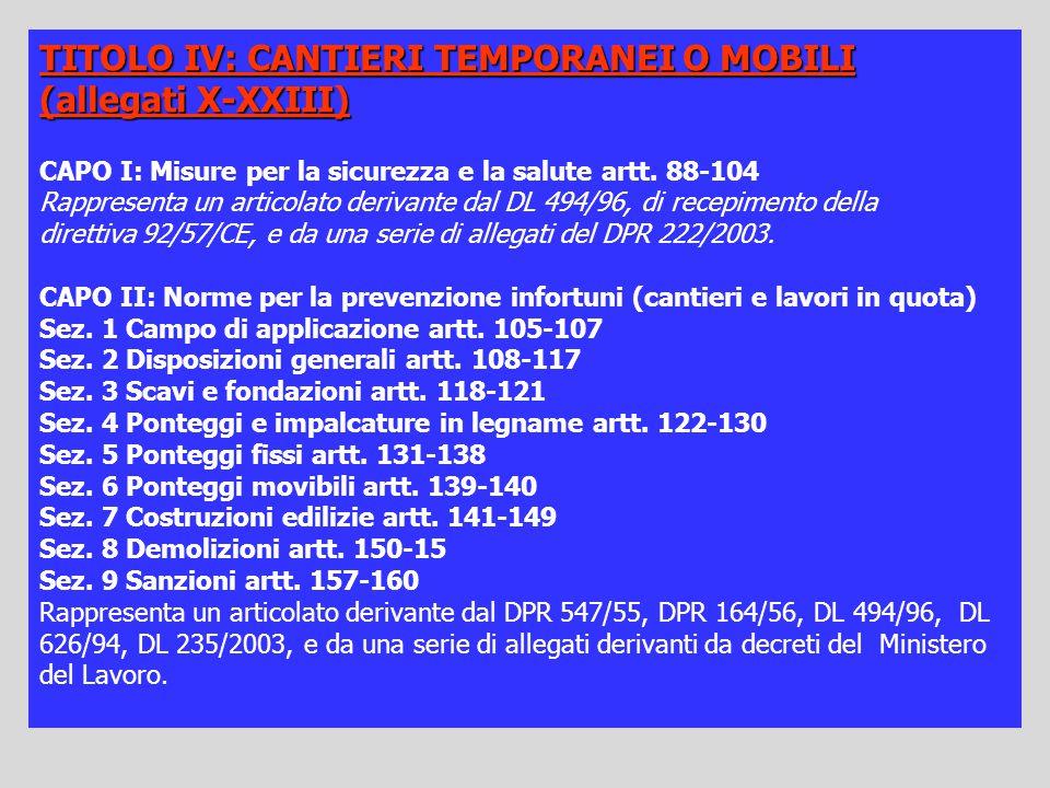 TITOLO IV: CANTIERI TEMPORANEI O MOBILI (allegati X-XXIII) CAPO I: Misure per la sicurezza e la salute artt. 88-104 Rappresenta un articolato derivant