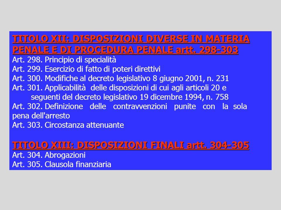 TITOLO XII: DISPOSIZIONI DIVERSE IN MATERIA PENALE E DI PROCEDURA PENALE artt. 298-303 Art. 298. Principio di specialità Art. 299. Esercizio di fatto