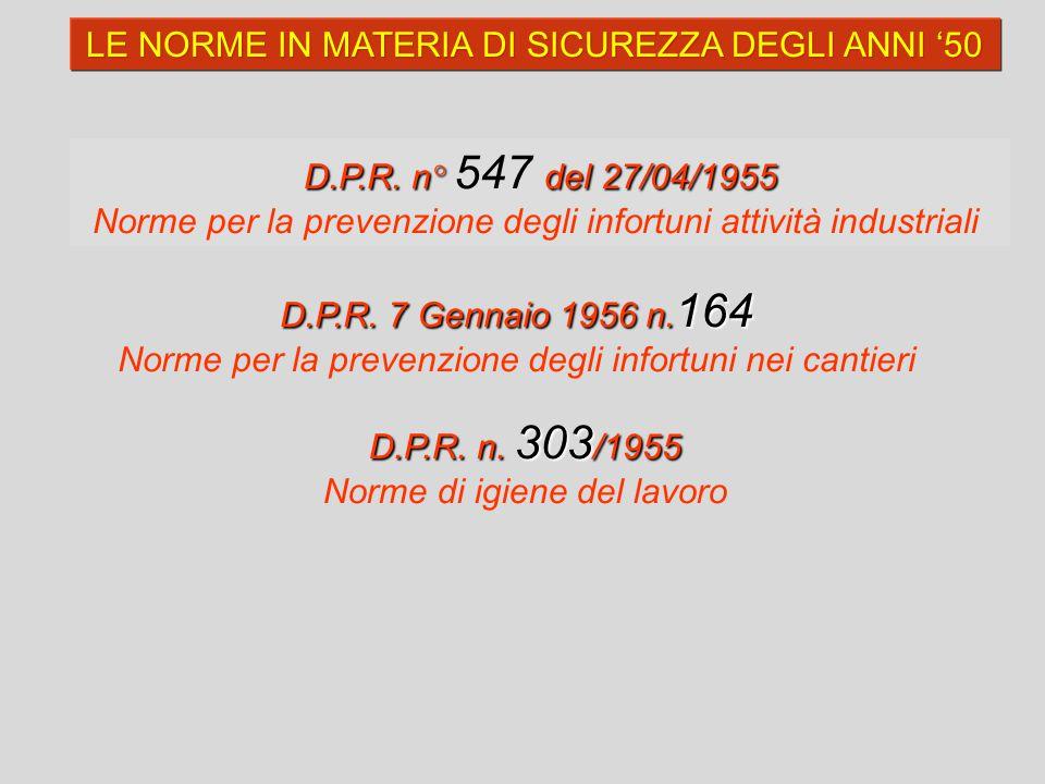 D.P.R. n°del 27/04/1955 D.P.R. n° 547 del 27/04/1955 Norme per la prevenzione degli infortuni attività industriali LE NORME IN MATERIA DI SICUREZZA DE